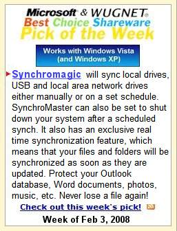 Synchromaster awarded Wugnet's Spotlight of the Week for the Microsoft Windows User's Group